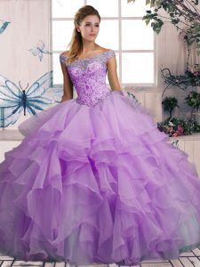 Sleeveless Floor Length Beading and Ruffles Lace Up Quinceanera Dress with Lavender
