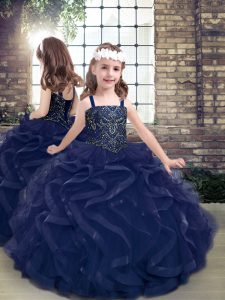 Straps Sleeveless Pageant Dress for Teens Floor Length Beading and Ruffles Navy Blue Tulle