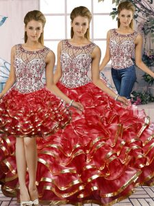 Red Scoop Neckline Beading and Ruffles Quinceanera Gown Sleeveless Lace Up