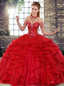 Free and Easy Floor Length Ball Gowns Sleeveless Red Quinceanera Gowns Lace Up