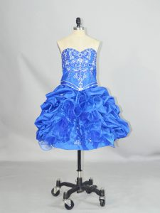 Blue Sweetheart Lace Up Beading and Ruffles and Pick Ups Sleeveless
