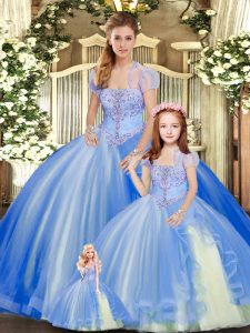 Custom Fit Tulle Strapless Sleeveless Lace Up Beading and Ruffles Quinceanera Gowns in Blue