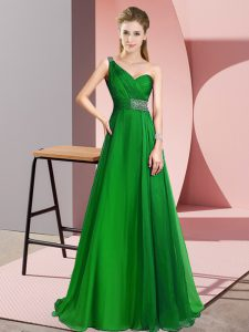 Edgy Green Criss Cross Dress for Prom Beading Sleeveless Brush Train