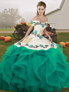 Embroidery and Ruffles Quinceanera Dresses Turquoise Lace Up Sleeveless Floor Length