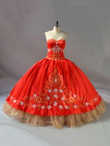 Vintage Red Sleeveless Embroidery Floor Length Sweet 16 Quinceanera Dress