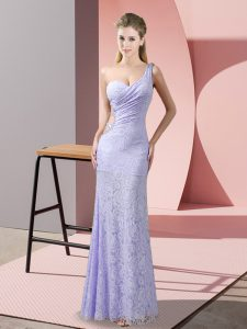 Lavender Lace Criss Cross Celebrity Style Dress Sleeveless Floor Length Beading and Lace