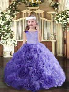 Lavender Lace Up Winning Pageant Gowns Beading Sleeveless Floor Length