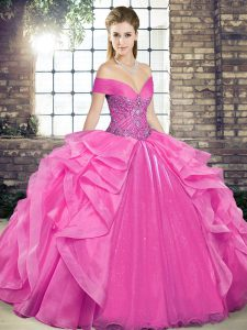 Pretty Rose Pink Sleeveless Floor Length Beading and Ruffles Lace Up Sweet 16 Dress