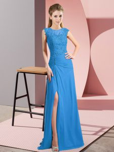 Deluxe Floor Length Blue Hoco Dress Scoop Sleeveless Zipper