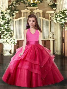 Hot Pink Sleeveless Floor Length Ruffled Layers Lace Up Pageant Dress Wholesale