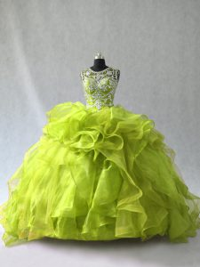 Sexy Scoop Sleeveless Organza Quinceanera Dress Beading and Ruffles Lace Up