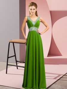 Green Empire Chiffon V-neck Sleeveless Beading Floor Length Lace Up Prom Dress