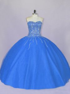 Blue Lace Up Quince Ball Gowns Beading Sleeveless Floor Length