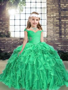 Attractive Floor Length Lace Up Pageant Dress Toddler Turquoise for Prom and Party with Beading and Ruffles