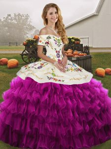 Sleeveless Floor Length Embroidery and Ruffled Layers Lace Up Quinceanera Dresses with Fuchsia
