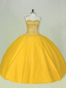 Floor Length Gold 15th Birthday Dress Scoop Sleeveless Lace Up