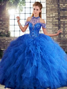 Royal Blue Halter Top Neckline Beading and Ruffles Sweet 16 Dresses Sleeveless Lace Up