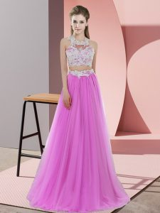Lilac Tulle Zipper Halter Top Sleeveless Floor Length Wedding Party Dress Lace