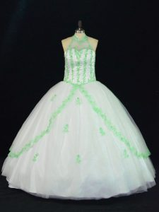 Fashion White Quinceanera Gown Sweet 16 and Quinceanera with Appliques Halter Top Sleeveless Lace Up