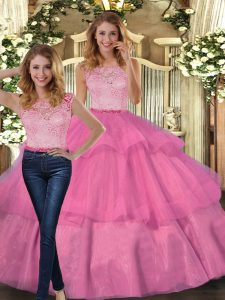 Vintage Floor Length Two Pieces Sleeveless Hot Pink Sweet 16 Dress Lace Up