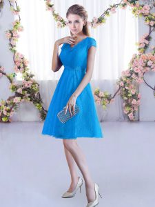 Excellent V-neck Cap Sleeves Lace Up Damas Dress Baby Blue Lace