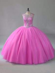 Graceful Beading Quinceanera Dress Rose Pink Lace Up Sleeveless Floor Length