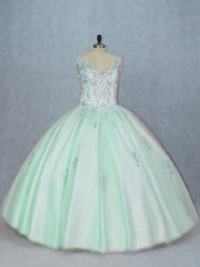 Beading and Appliques 15th Birthday Dress Apple Green Lace Up Sleeveless Floor Length
