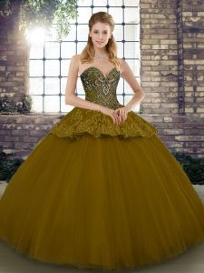 Brown Lace Up Sweetheart Beading and Appliques Ball Gown Prom Dress Tulle Sleeveless