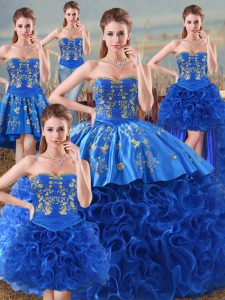 Sleeveless Floor Length Embroidery Lace Up Sweet 16 Quinceanera Dress with Royal Blue