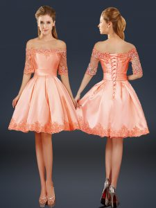 Half Sleeves Satin Mini Length Lace Up Evening Dress in Peach with Lace and Appliques