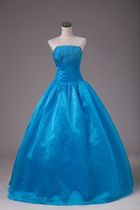 Fancy Strapless Sleeveless Organza Quince Ball Gowns Beading Lace Up