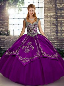 Latest Purple Lace Up Straps Beading and Embroidery Quince Ball Gowns Tulle Sleeveless