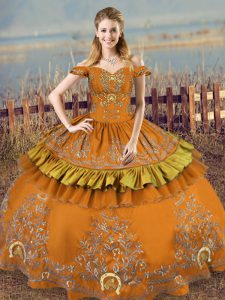 Off The Shoulder Sleeveless Quinceanera Dresses Floor Length Embroidery Brown Satin