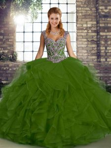 Gorgeous Olive Green Lace Up Ball Gown Prom Dress Beading and Ruffles Sleeveless Floor Length