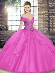 Best Selling Lilac Tulle Lace Up 15 Quinceanera Dress Sleeveless Floor Length Beading and Ruffles