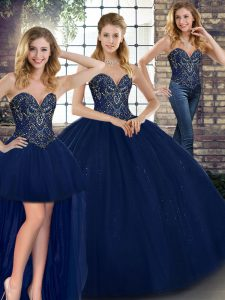 Sleeveless Tulle Floor Length Lace Up Sweet 16 Dresses in Navy Blue with Beading