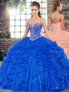 Designer Royal Blue Ball Gowns Tulle Sweetheart Sleeveless Beading and Ruffles Floor Length Lace Up 15 Quinceanera Dress