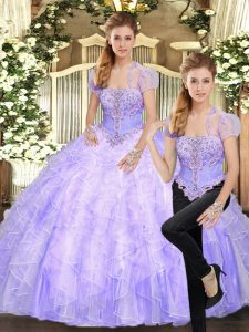 Lavender Two Pieces Beading and Appliques and Ruffles 15 Quinceanera Dress Lace Up Tulle Sleeveless Floor Length