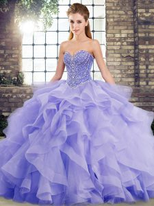 Pretty Beading and Ruffles Sweet 16 Quinceanera Dress Lavender Lace Up Sleeveless Brush Train