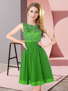 Clearance Green Empire Scoop Sleeveless Chiffon Mini Length Backless Beading and Appliques Quinceanera Dama Dress