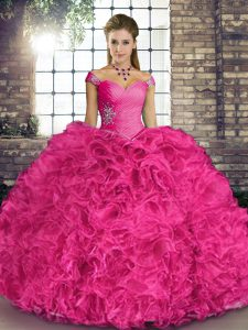Hot Pink Lace Up Quinceanera Dresses Beading and Ruffles Sleeveless Floor Length