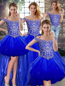 Off The Shoulder Sleeveless Quinceanera Gowns Floor Length Beading and Ruffles Royal Blue Tulle