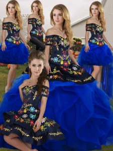 Floor Length Royal Blue Vestidos de Quinceanera Tulle Sleeveless Embroidery and Ruffles