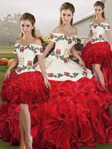 Dynamic Floor Length White And Red Quinceanera Dress Organza Sleeveless Embroidery and Ruffles