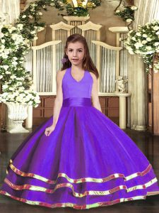 Floor Length Ball Gowns Sleeveless Purple Girls Pageant Dresses Lace Up