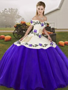 Fitting White And Purple Sleeveless Embroidery Floor Length Vestidos de Quinceanera