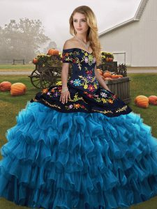 Sophisticated Embroidery and Ruffled Layers Quince Ball Gowns Blue And Black Lace Up Sleeveless Floor Length