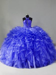 Glamorous Halter Top Sleeveless Brush Train Zipper Quinceanera Dress Blue Organza