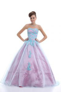 Noble Sweetheart Sleeveless 15 Quinceanera Dress Floor Length Appliques Light Blue Organza