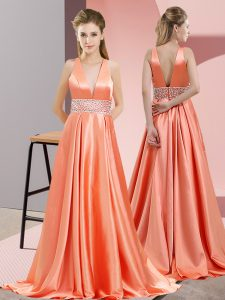 Ideal Orange Red V-neck Backless Beading Evening Dress Brush Train Sleeveless